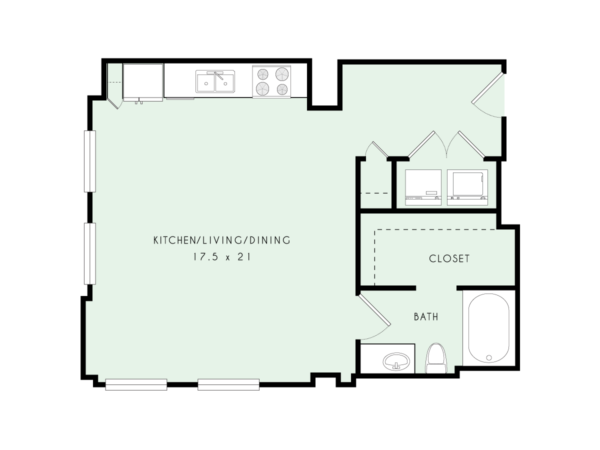 L01 | Loft, One Bath | 677 sqft