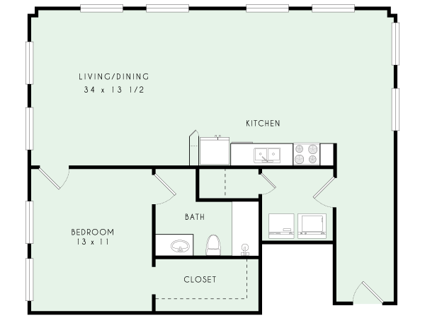 A26 | One Bed, One Bath | 1,058 sqft