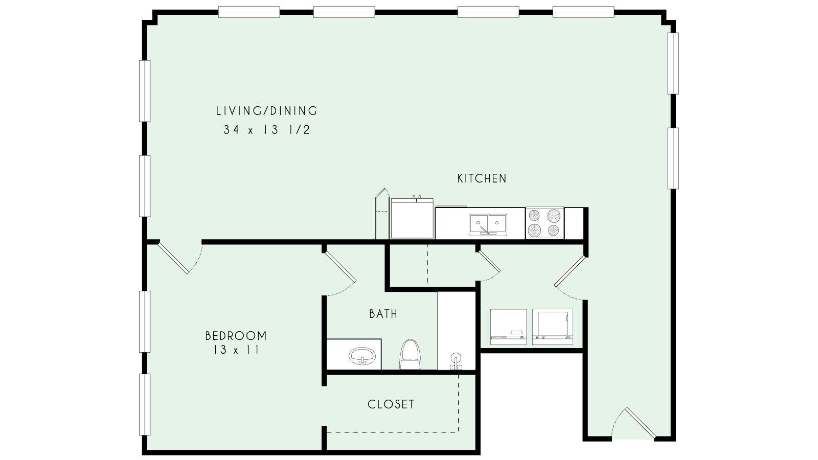 A26 | One Bed, One Bath | 1,058 sqft | $1453-$1507/month