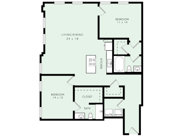 B12 | Two Bed, Two Bath | 1,534 sqft | $2,078-$2,183/month